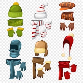 Conjunto de cachecol de inverno, chapéus e bonés, luvas e mitenes para homem e senhora.