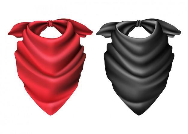 Conjunto de cachecol de vaqueiro vermelho e preto.