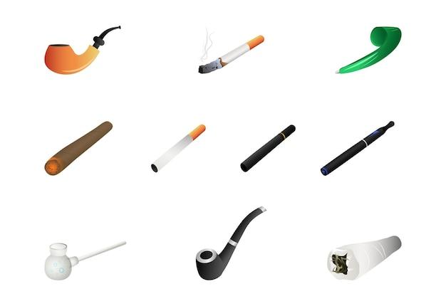 Conjunto de cachimbos e cigarros