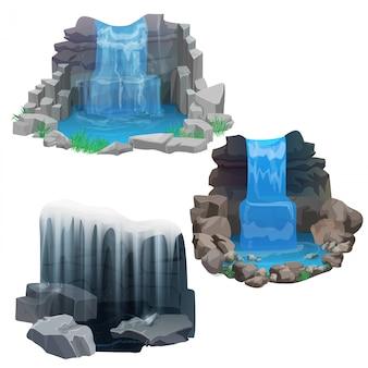 Conjunto de cachoeira selva tropical