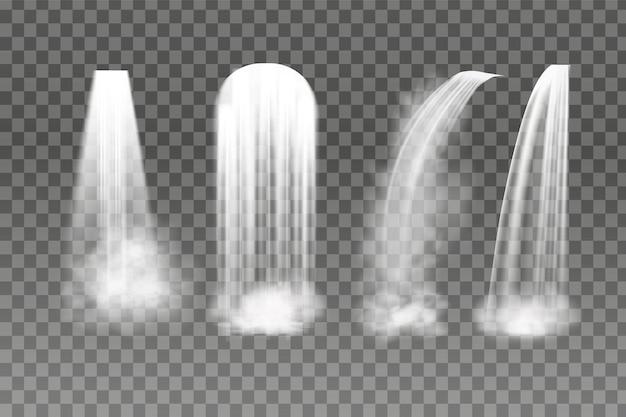Conjunto de cachoeiras em fundo transparente