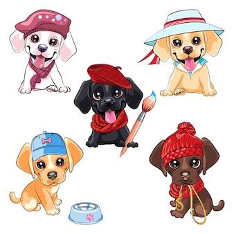 Conjunto de cachorrinho labrador retriever Vetor Premium