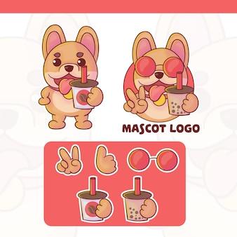 Conjunto de cachorro fofo com logotipo da mascote do café e boba com aparência opcional, estilo kawaii