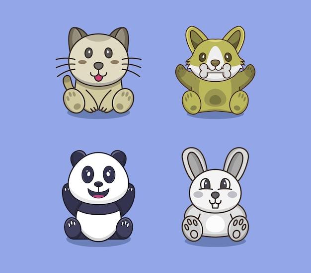 Conjunto de cachorro, gato, urso e coelho