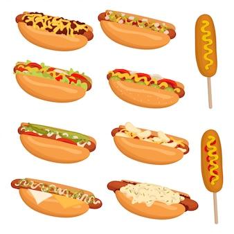 Conjunto de cachorro-quente. coleção de cachorro-quente americano. ilustração de comida de rua.