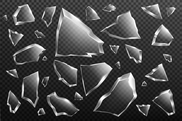 Conjunto de cacos de vidro quebrado, fragmentos de janela quebrados