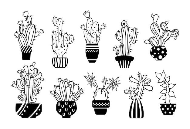 Conjunto de cacto desenhado à mão com linha preta e branca e clipart suculento
