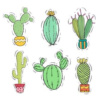 Conjunto de cactos coloridos com pote usando doodle ou mão estilo desenhado