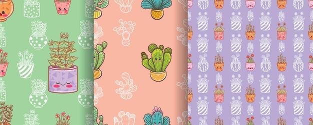 Conjunto de cactos fofos e flores padrão sem emenda de personagem de desenho animado