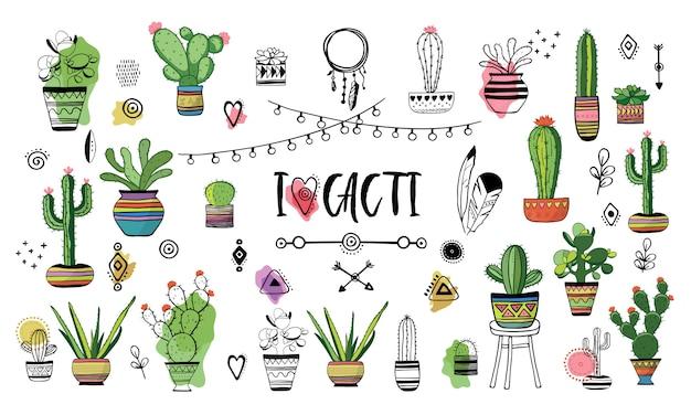 Conjunto de cactos. ilustração