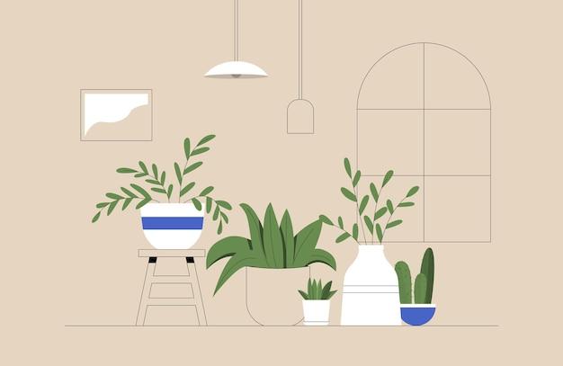 Conjunto de cactos, plantas em vasos, floreiras, folhas tropicais em ambiente aconchegante