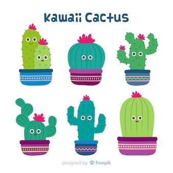 Conjunto de cactus kawaii mão desenhada