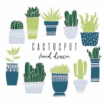 Conjunto de cactus pot e suculenta no estilo de desenho