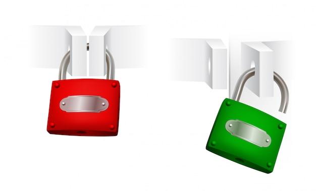 Conjunto de cadeados abertos e fechados