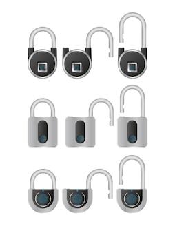 Conjunto de cadeados com leitor de impressão digital. um cadeado moderno é aberto com uma impressão digital.