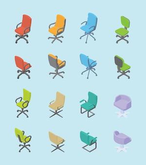 Conjunto de cadeira coleção para escritório com estilo moderno isométrico plano vários forma e cor
