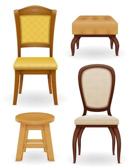 Conjunto de cadeira de móveis fezes e pufe ilustração vetorial