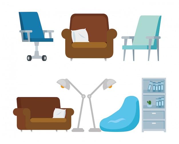 Conjunto de cadeiras com sofás e ícones