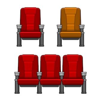 Conjunto de cadeiras vermelhas de cinema. estilo simples.