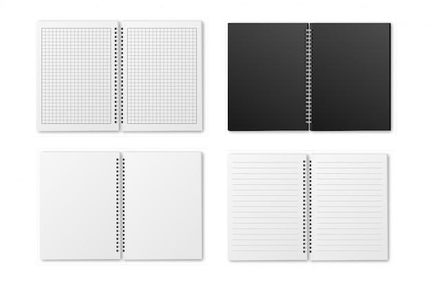 Conjunto de caderno a4 em espiral aberto