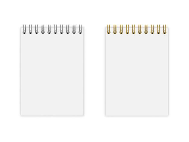 Conjunto de caderno com espiral ouro e prata
