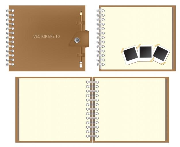 Conjunto de caderno marrom e manter o lápis, foto instantânea