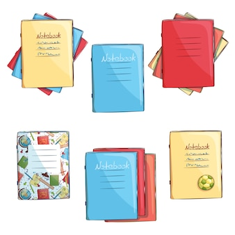 Conjunto de cadernos escolares. de volta à escola. objetos isolados desenhados à mão