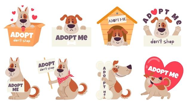 Conjunto de cães adotivos de desenho animado