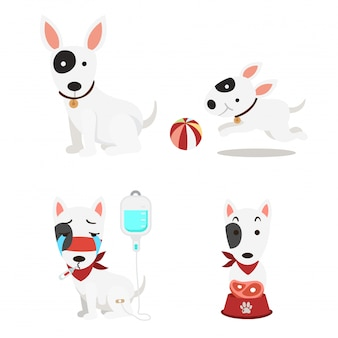 Conjunto de cães bonitos isolado ilustração