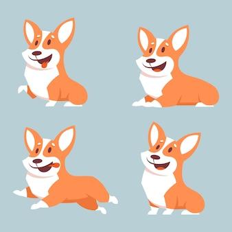 Conjunto de cães corgi em poses diferentes. ilustração do estilo dos desenhos animados com objetos isolados.