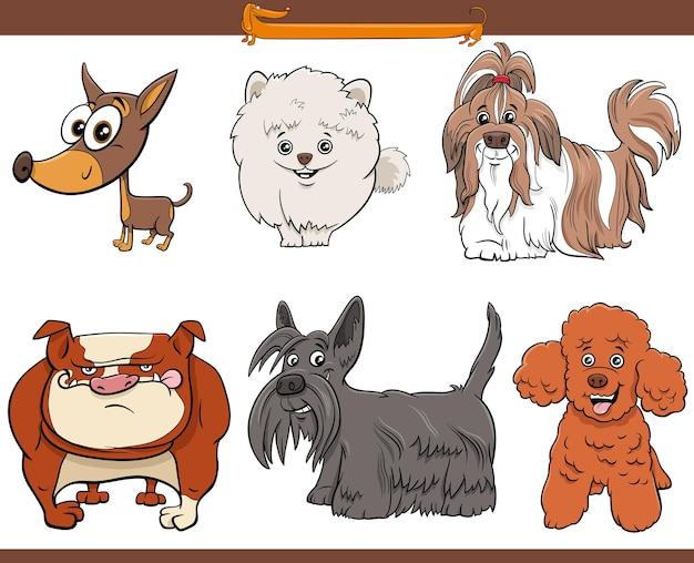Conjunto de cães de desenho animado de raça pura