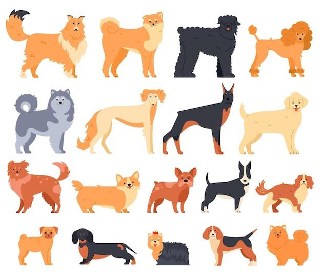 Conjunto de cães de desenho animado
