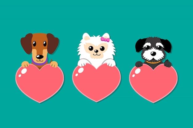 Conjunto de cães de desenho vetorial com sinais de coração
