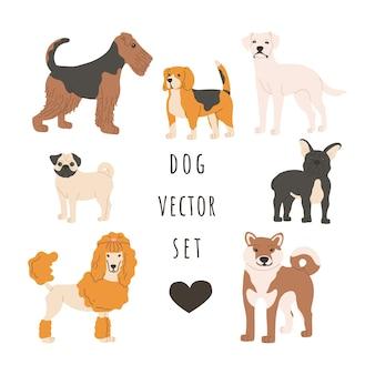 Conjunto de cães de diferentes raças. animais de estimação pequenos e grandes em pé.