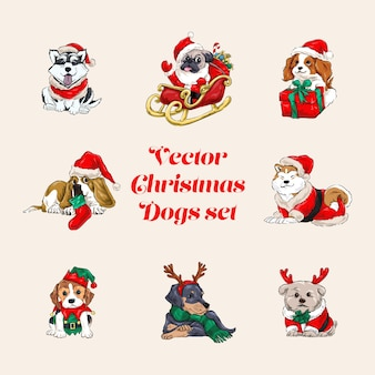 Conjunto de cães de natal