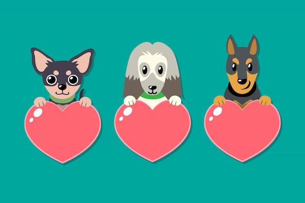 Conjunto de cães de vetor com sinais de coração