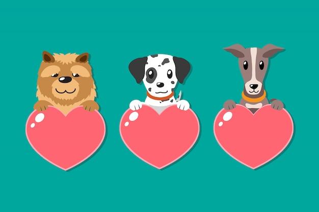 Conjunto de cães dos desenhos animados com sinais de coração