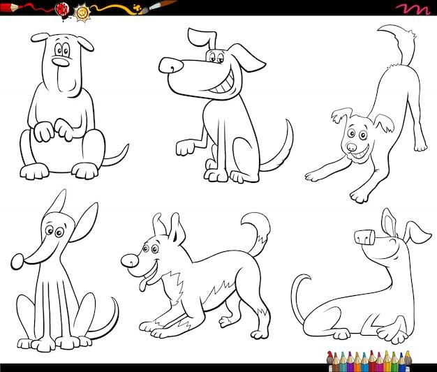 Conjunto de cães dos desenhos animados para colorir página de livro
