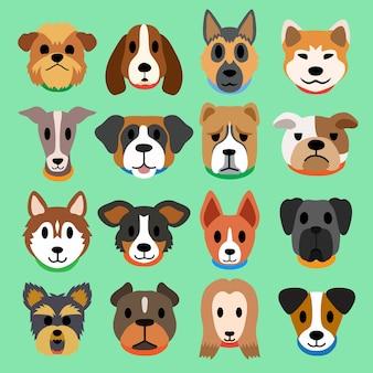 Conjunto de cães dos desenhos animados
