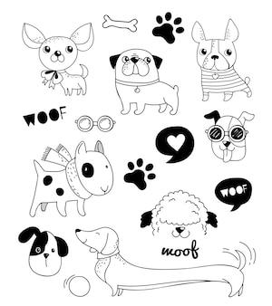 Conjunto de cães engraçados