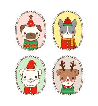 Conjunto de cães fofos em traje de natal com quadros vintage