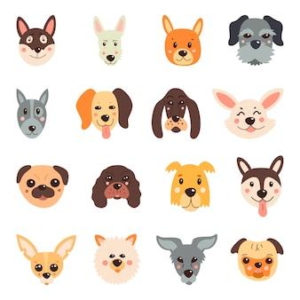 Conjunto de cães fofos. sobre um fundo branco e isolado.