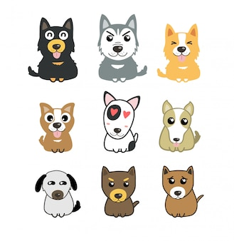 Conjunto de cães fofos