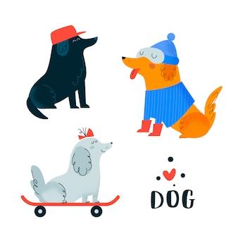 Conjunto de cães. terrier, greyhound, labrador, pequinês, dachshund, poodle