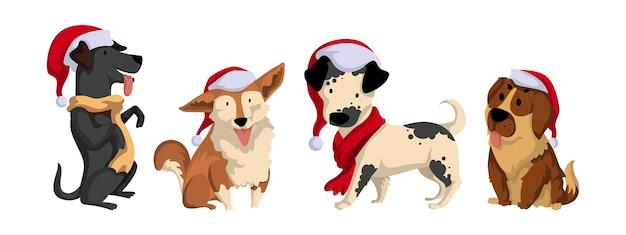 Conjunto de cães usam chapéu de papai noel