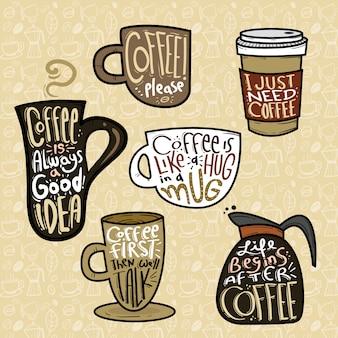 Conjunto de café com citações