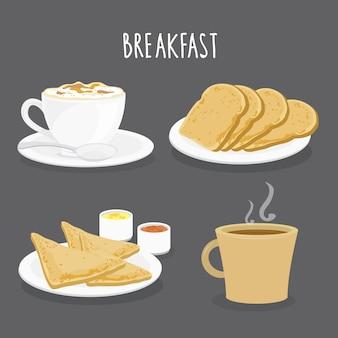Conjunto de café da manhã, café e torradas de pão. vetor dos desenhos animados