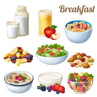 Conjunto de café da manhã de ícones de vetor de comida de desenho animado