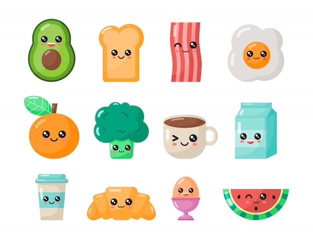 Conjunto de café da manhã dos desenhos animados kawaii. comida isolada