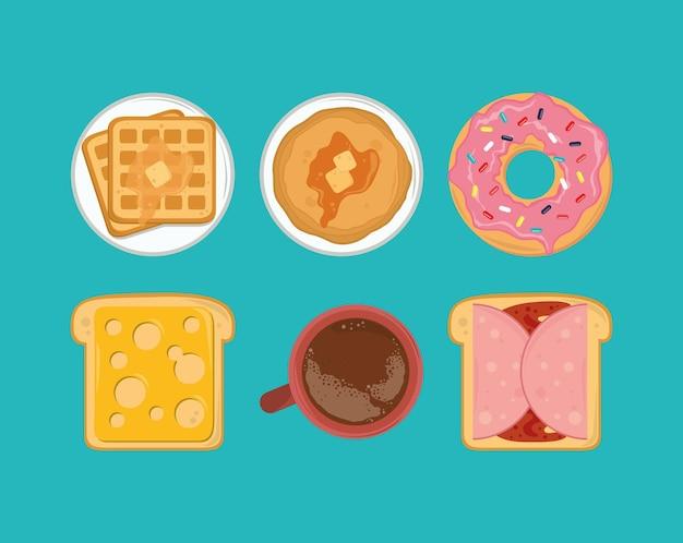 Conjunto de café da manhã fresco